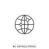 istock Globe Icon with Editable Stroke and Pixel Perfect. 1179972842