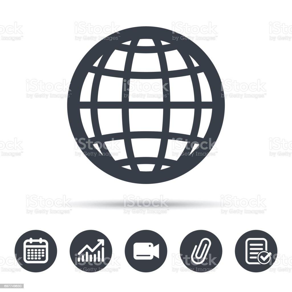 Globe Icon World Or Internet Sign Stock Illustration