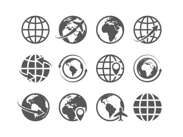 ilustraciones, imágenes clip art, dibujos animados e iconos de stock de conjunto de iconos del globo. globo del mundo tierra mapa símbolos de vector internet comercio mundial turismo - viaje a áfrica