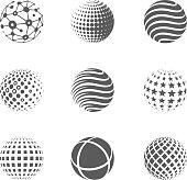 3D globe icons set