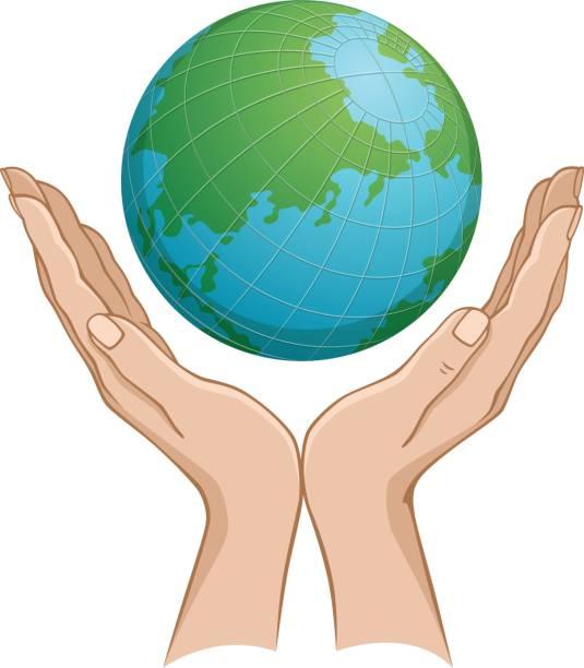 illustrazioni stock, clip art, cartoni animati e icone di tendenza di globe in hand - mano donna dita unite