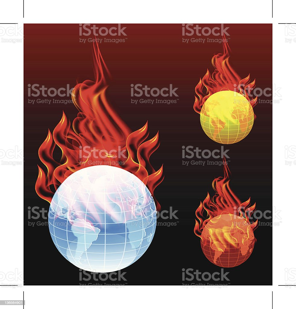globe in the fire royalty-free stock vector art