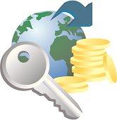 Globe, key and coins