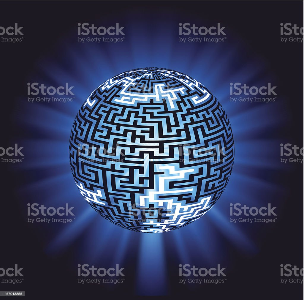 Globe labyrinth - maze with illumination royalty-free globe labyrinth maze with illumination stock vector art & more images of abstract