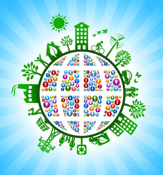 ilustrações de stock, clip art, desenhos animados e ícones de globe light bulb wireframe on green environmental conservation background - wireframe solar power