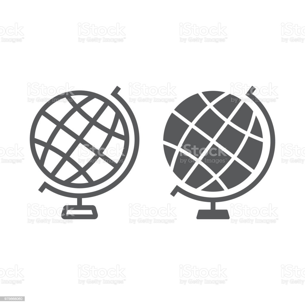 Globe Line And Glyph Icon Earth And World Geography Sign