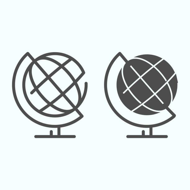 globuslinie und volumenkörpersymbol. schule globus vektor-illustration isoliert auf weiß. erdball umriss stil design, für web und app entwickelt. eps 10. - hausmodell stock-grafiken, -clipart, -cartoons und -symbole
