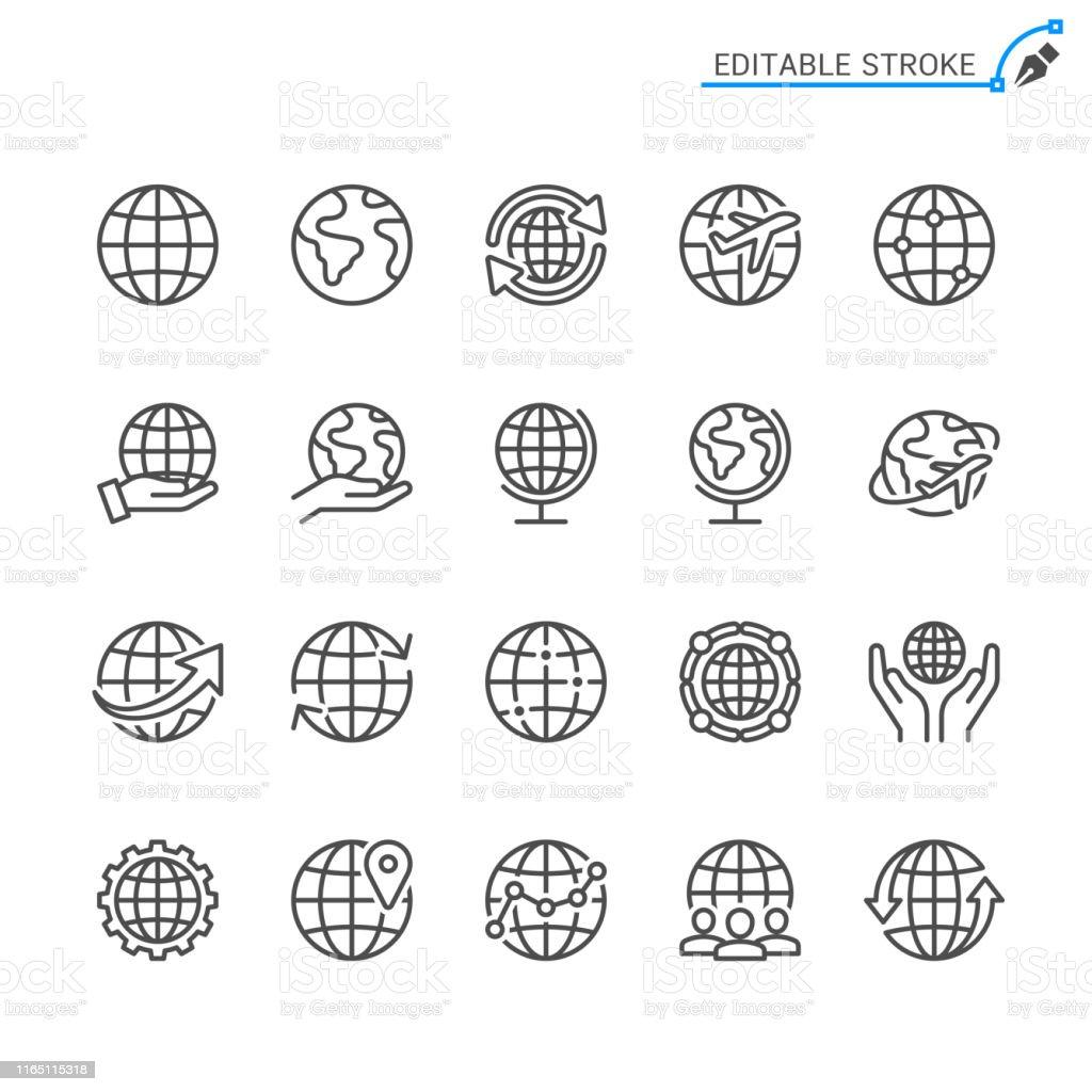 Globe line icons. Editable stroke. Pixel perfect. - Royalty-free Arte Linear arte vetorial