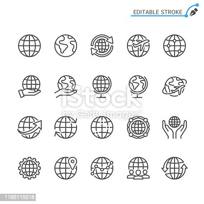Globe line icons. Editable stroke. Pixel perfect.