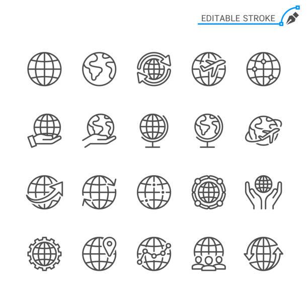 ikony linii globe. edytowalne obrys. piksel idealny. - globalny stock illustrations