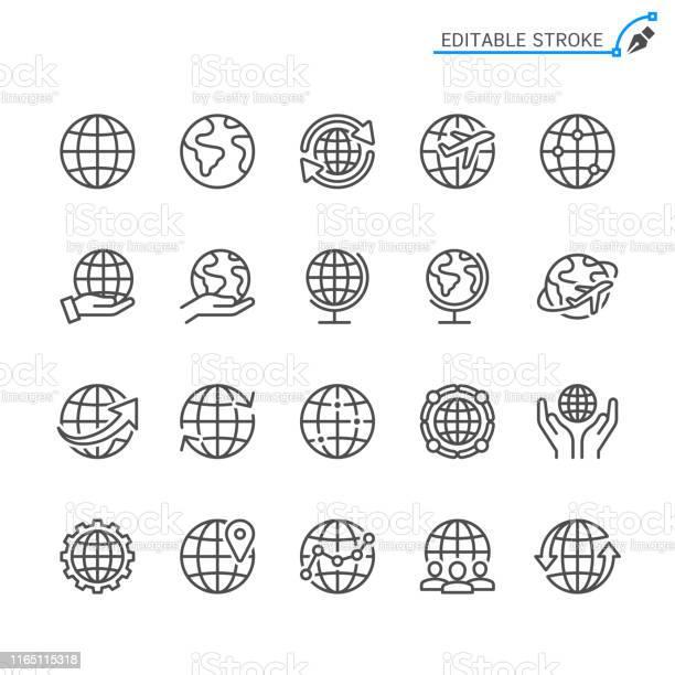 Globe Line Icons Editable Stroke Pixel Perfect - Arte vetorial de stock e mais imagens de Arte Linear