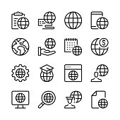 Globe line icons set. Modern graphic design concepts, simple outline elements collection. Vector line icons