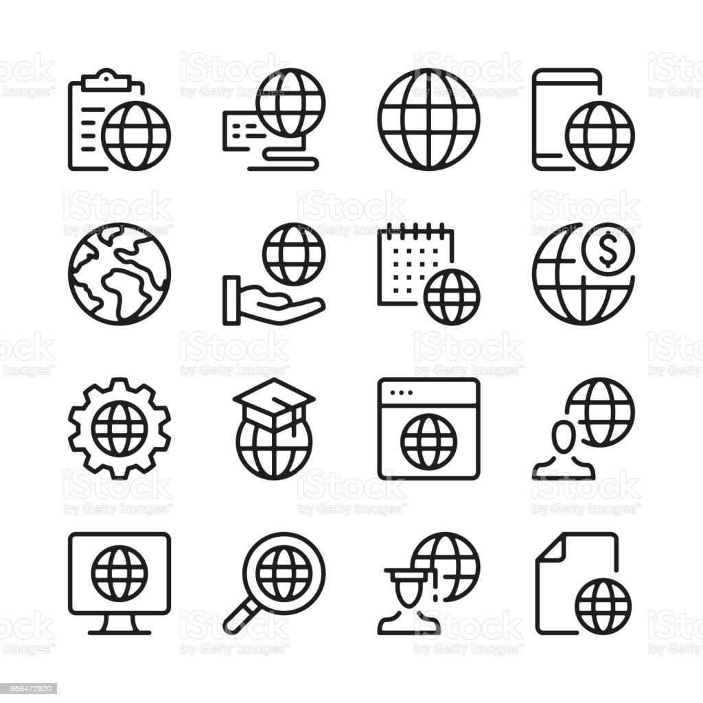 Globe line icons set. Modern graphic design concepts, simple outline elements collection. Vector line icons vector art illustration