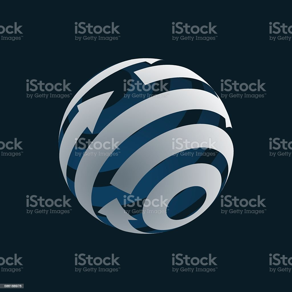 Globe Logo Element. Rotating Arrows. vector art illustration