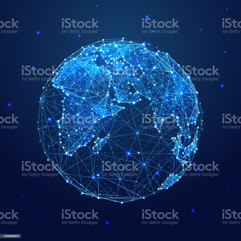 globe low poly blueQ royalty-free globe low poly blueq stock illustration - download image now