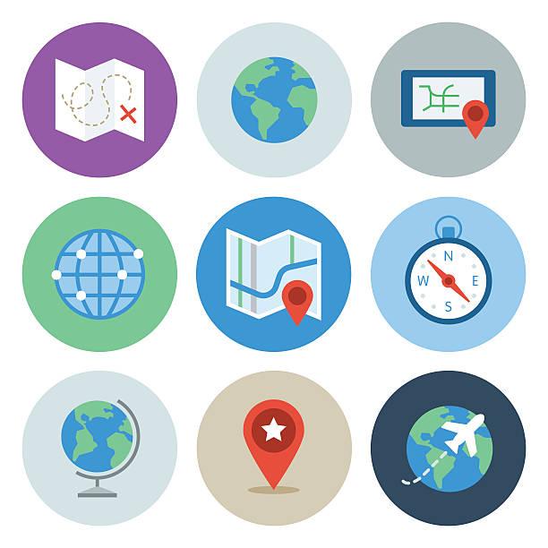 Globe & Map Icons — Circle Series vector art illustration
