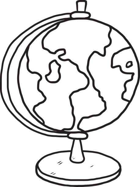 Best Planet Globe Black And White Earth Illustrations ...