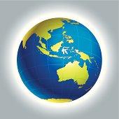 Globe of World. Australia and Oceania side.
