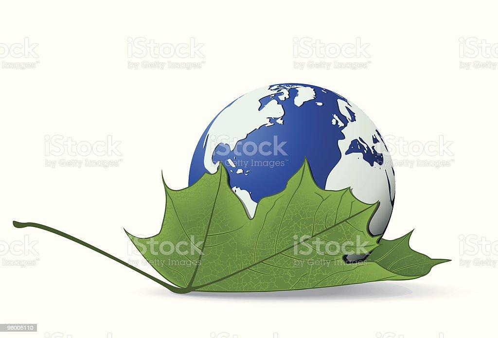Globe on a leaf royalty free globe on a leaf stockvectorkunst en meer beelden van abstract