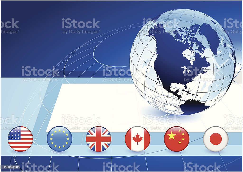 Globe on Business Background with Flag Buttons royalty-free stock vector art