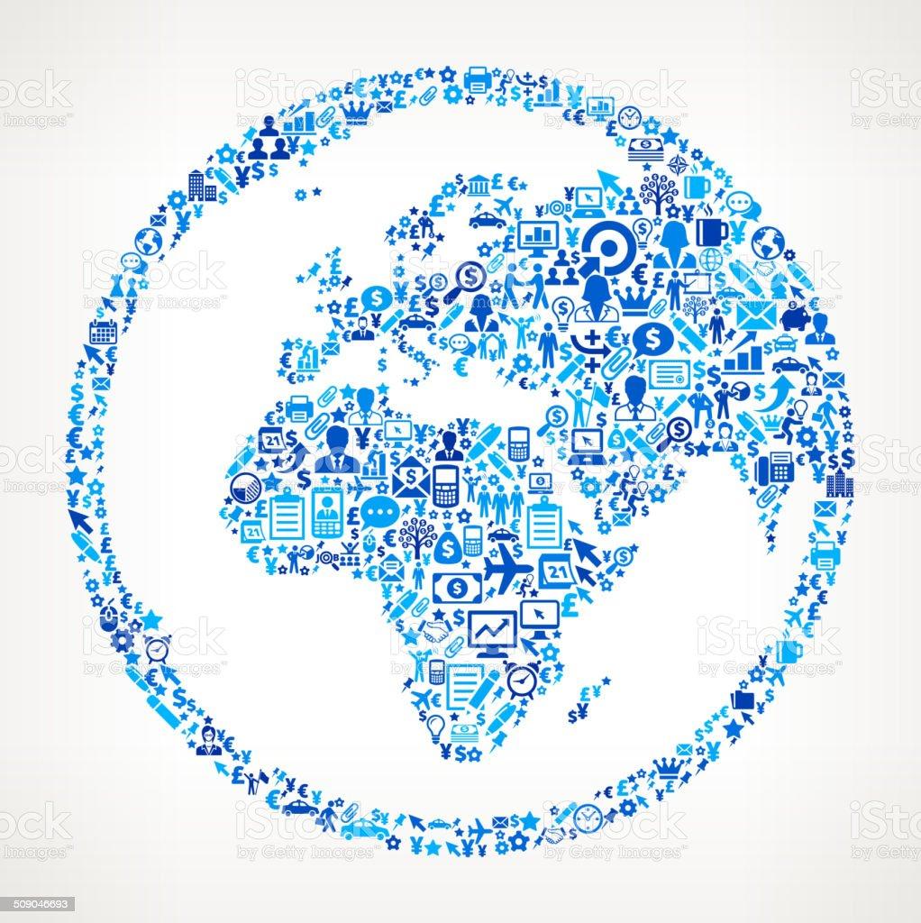 Globe on Business Icon Pattern