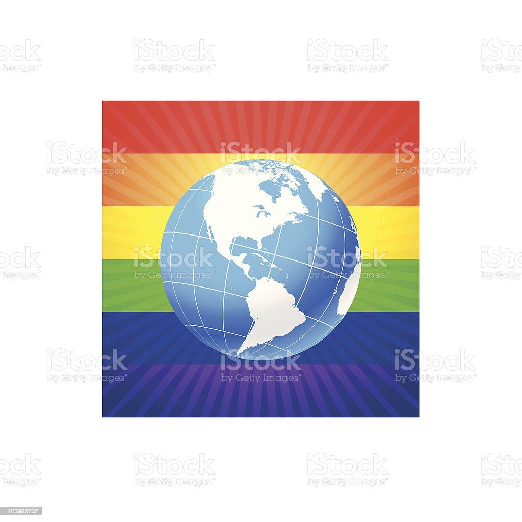 Globe on glowing rainbow background vector art illustration