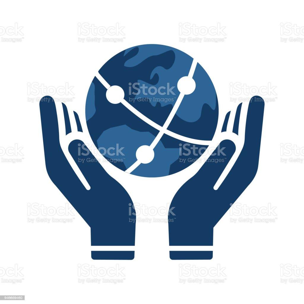 Icono de globo en mano - ilustración de arte vectorial