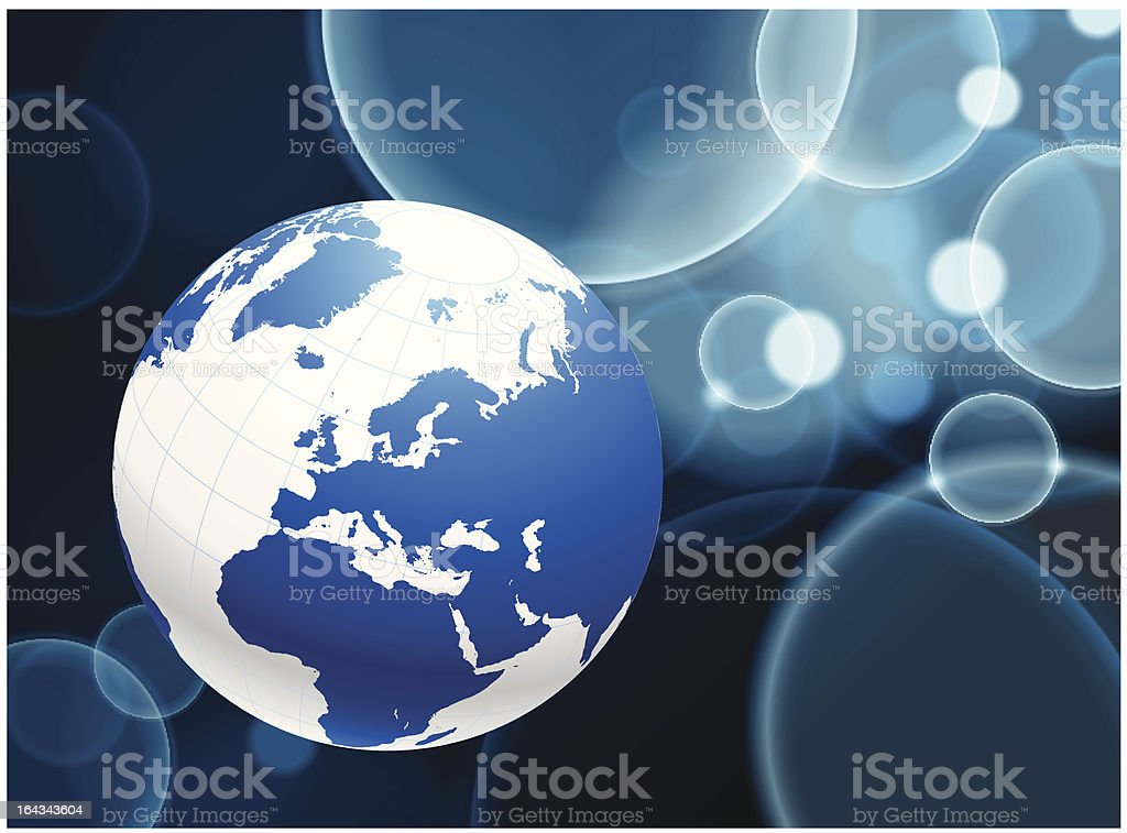 Globe on Lens Flare Bubble Background royalty-free globe on lens flare bubble background stock vector art & more images of africa