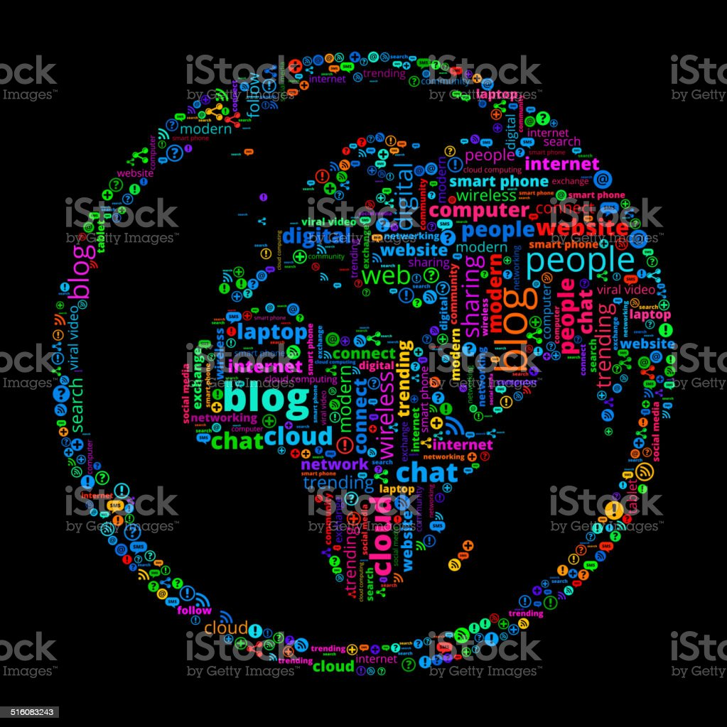 Globe on Modern Communication and Technology Word Cloud vector art illustration