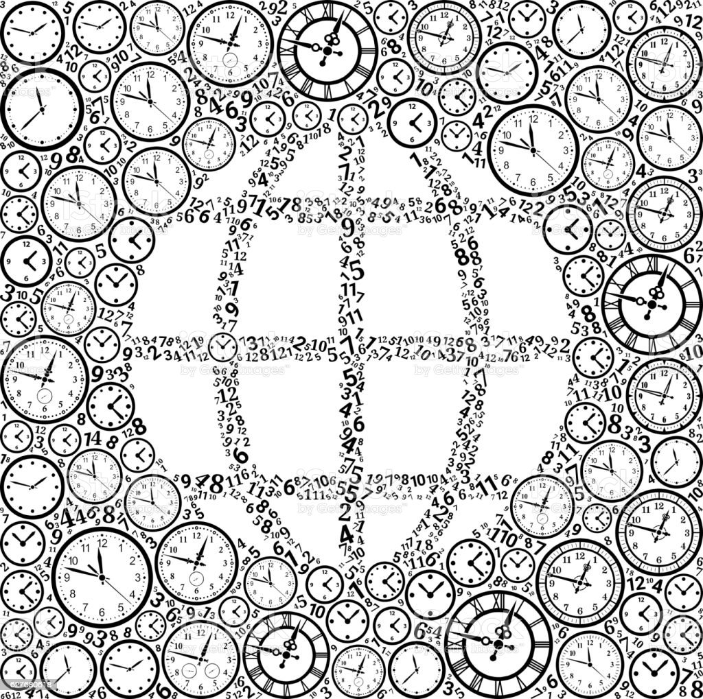 Globe On Time And Clock Vector Icon Pattern Stock Vektor Art und ...