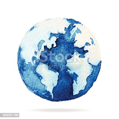 Globe painted with watercolors on paper, Illustration design.