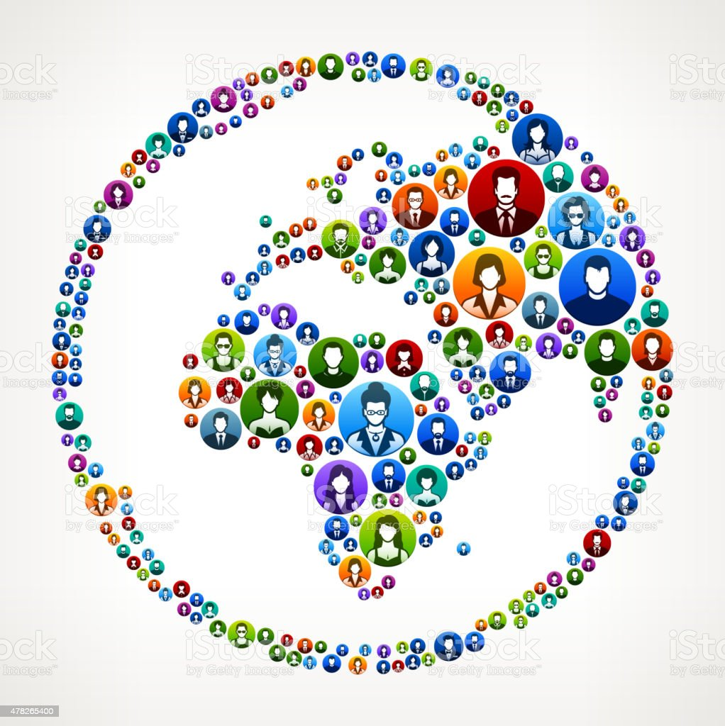 Globe People Faces Community and Communication Pattern. vector art illustration