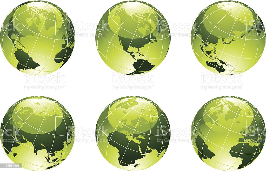 Globe Planet Earth Green royalty-free stock vector art