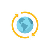 Globe, Recycling Flat Icon. Pixel Perfect. For Mobile and Web.
