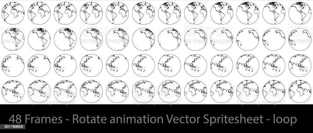 Globe Rotation Animation Sprite Sheet Loop Animation Stock Vector