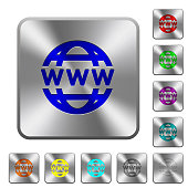 WWW globe rounded square steel buttons
