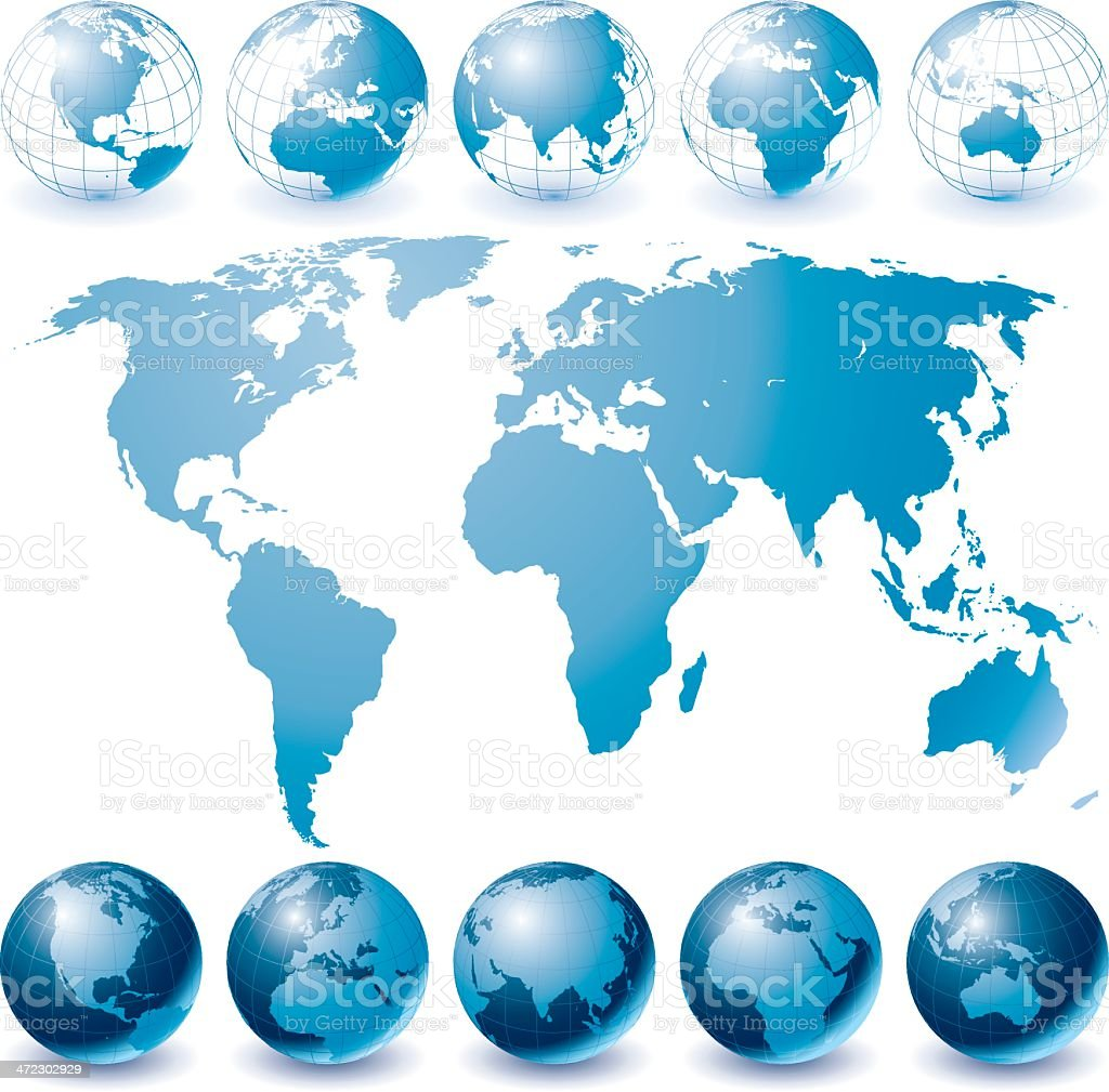 Globe Set and World Map vector art illustration