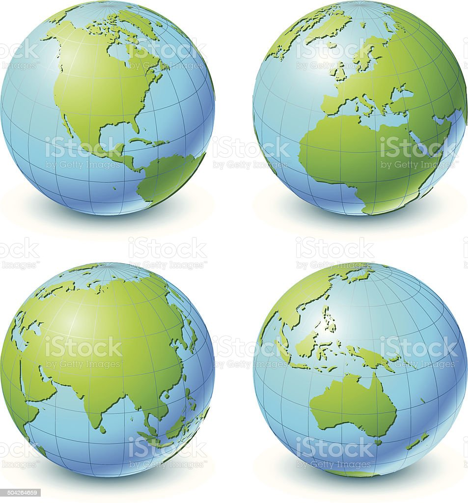 Globe Set and World Map vector art illustration