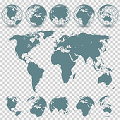 Vector Globe Set and World Map