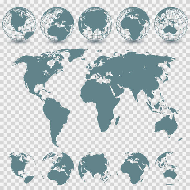 Globe Set and World Map Vector Globe Set and World Map oceania stock illustrations