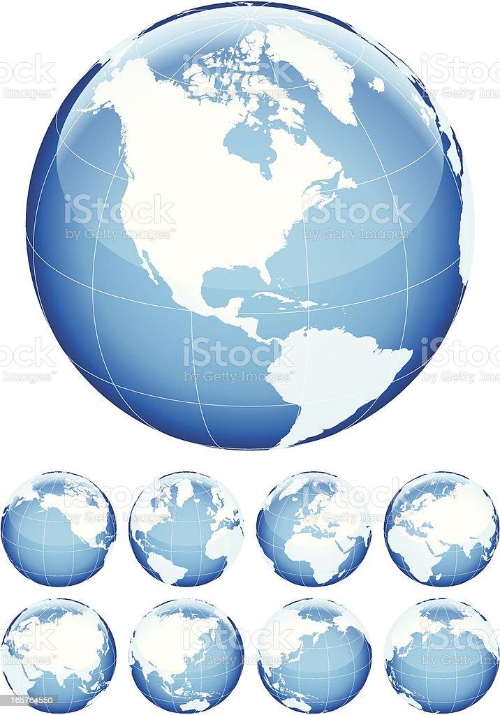 Globe Set Blue royalty-free stock vector art