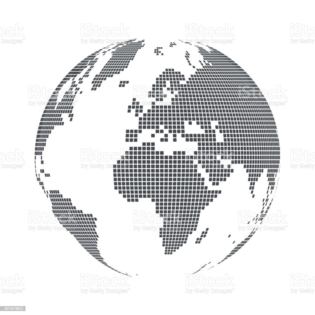 Globe shape world map with square dots vector illustration stock globe shape world map with square dots vector illustration royalty free globe shape gumiabroncs Image collections