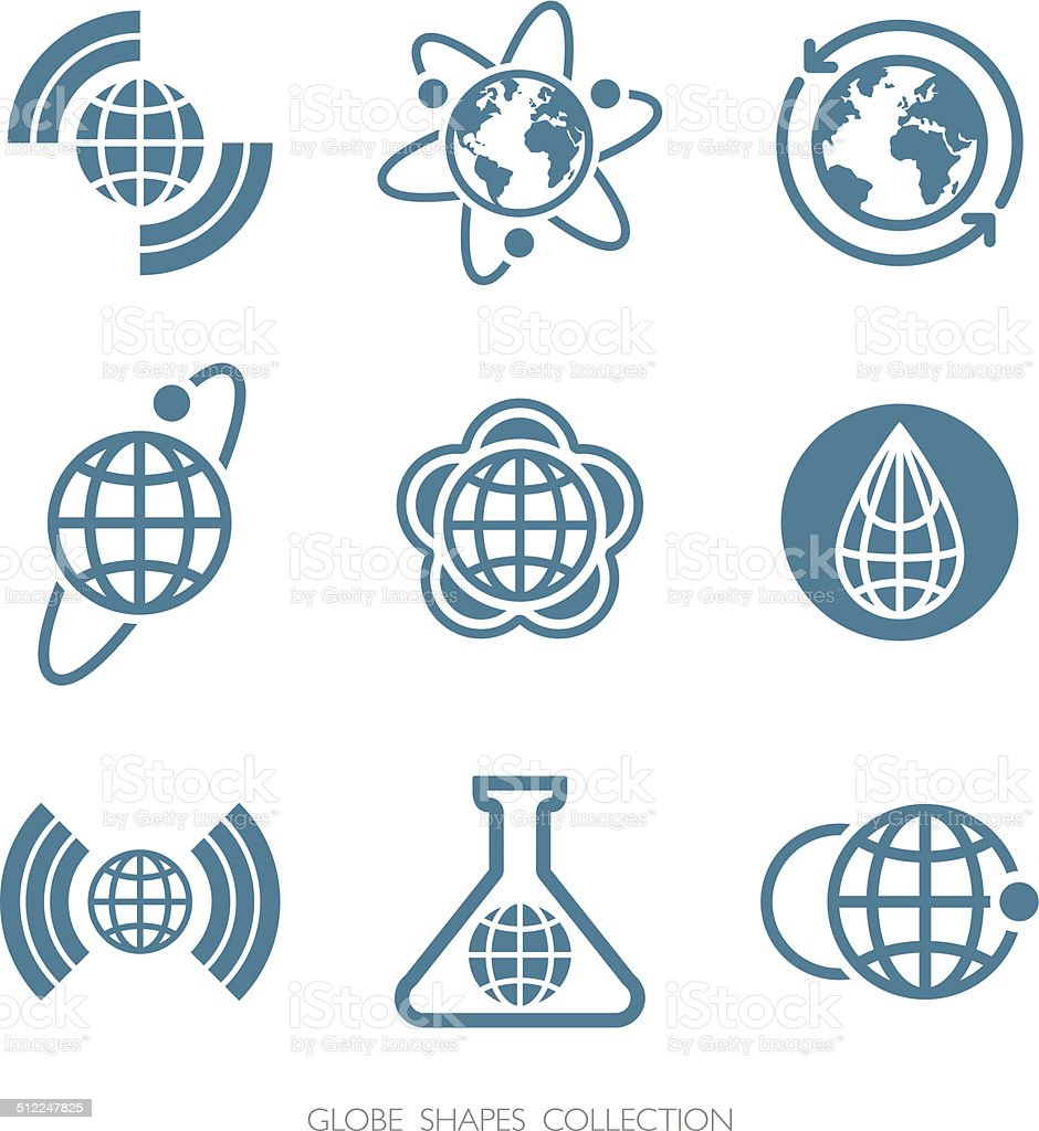 Globe Shapes Collection. Vector icon set. vector art illustration