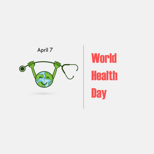 Globe sign and dumbbell vector logo.World Health Day icon.World Health Day cartoon mascot character.World Health Day idea campaign concept.Vector illustration Globe sign and dumbbell vector logo.World Health Day icon.World Health Day cartoon mascot character.World Health Day idea campaign concept.Vector illustration world health day stock illustrations