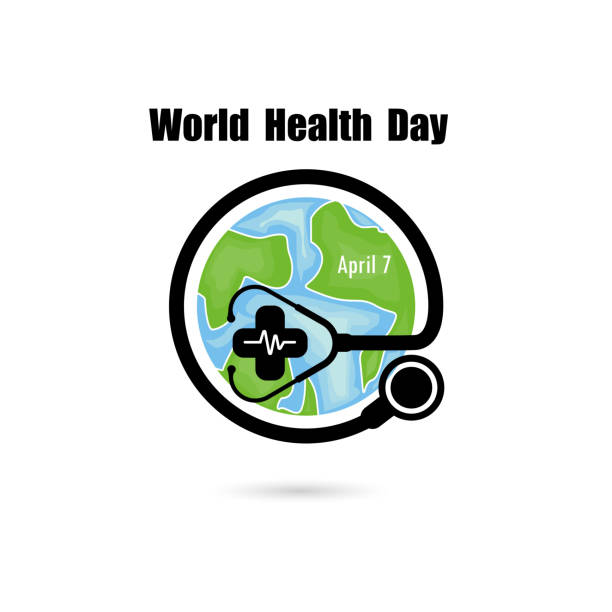 Globe sign and stethoscope vector logo design template.World Health Day icon.World Health Day idea campaign concept for greeting card and poster.Vector illustration Globe sign and stethoscope vector logo design template.World Health Day icon.World Health Day idea campaign concept for greeting card and poster.Vector illustration world health day stock illustrations