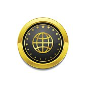 Globe Sign Golden Vector Icon Button