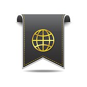 Globe Sign golden Vector Icon Design