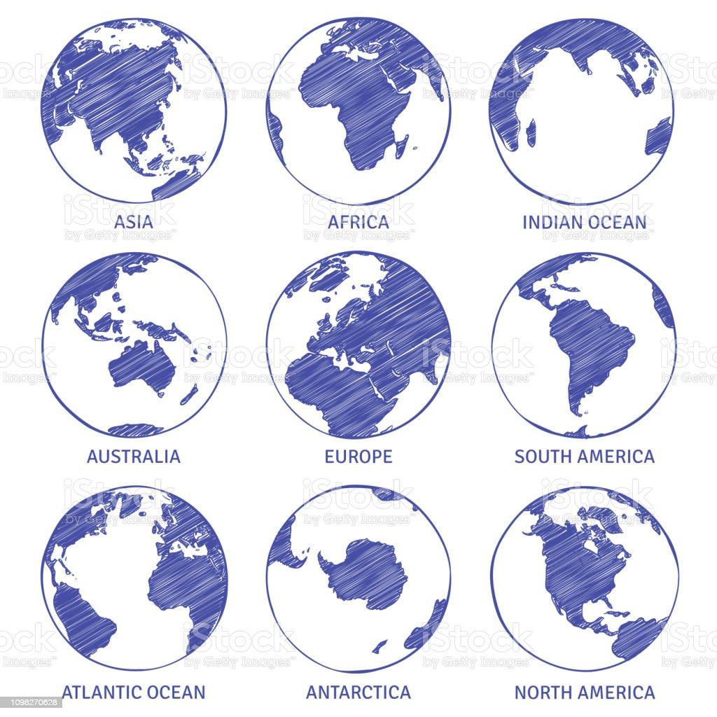 Globus Weltkugel Karte.Globusskizze Karte Hand Gezeichnete Weltkugel Erde Kreis Konzept