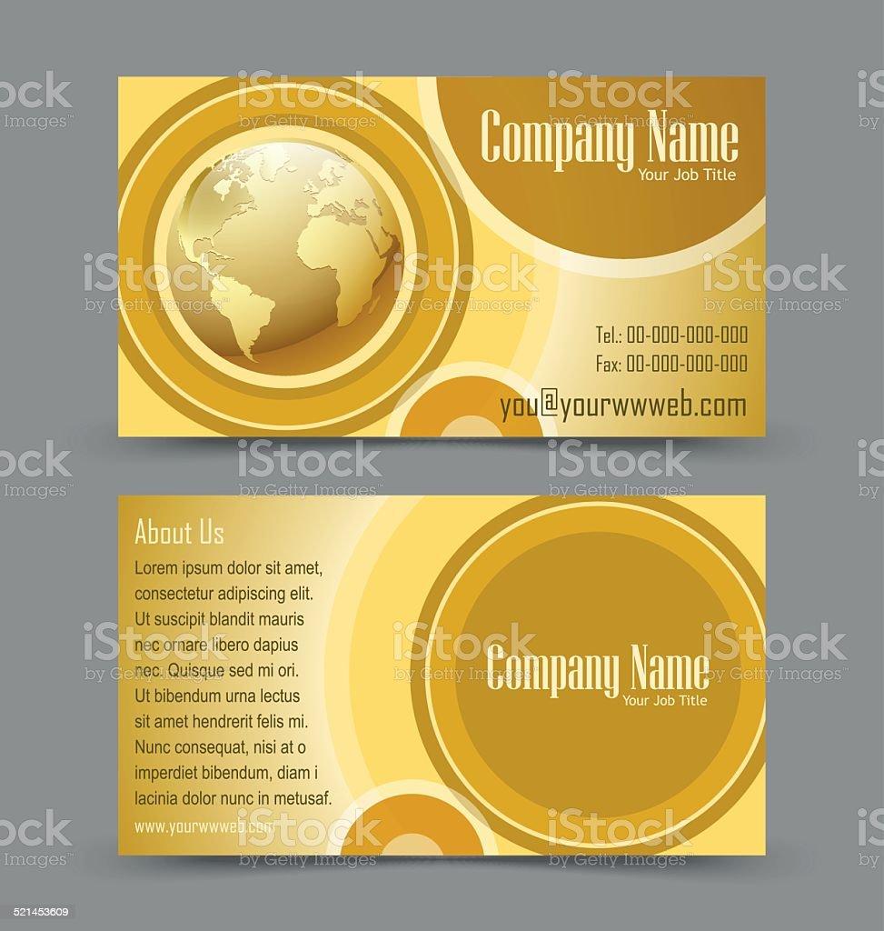 Globe theme business card vector art illustration