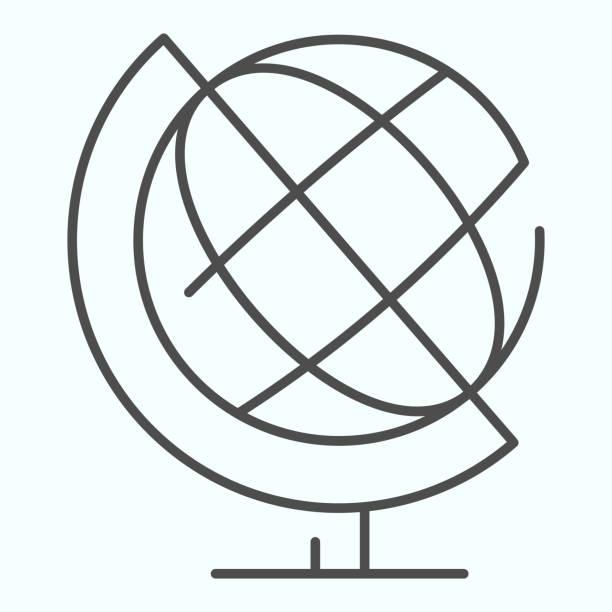 globe dünne linie symbol. schule globus vektor-illustration isoliert auf weiß. erdball umriss stil design, für web und app entwickelt. eps 10. - hausmodell stock-grafiken, -clipart, -cartoons und -symbole